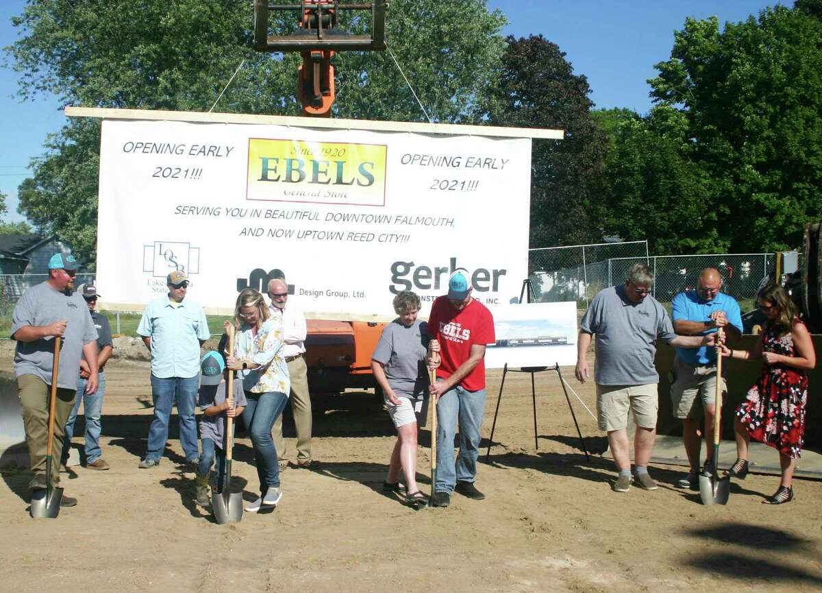A groundbreaking ceremony was held last August to begin the construction of the new Ebels grocery store in Reed City. (Pioneer file photo)