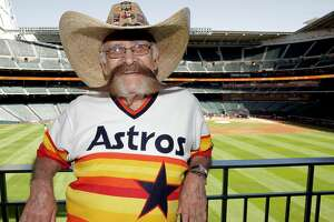 Valentin Jalomo poses for a photo in the outfield before Opening Day at Minute Maid Park on Monday, April 3, 2017, in Houston. Jaloma has attended opening days since 1965. ( Elizabeth Conley / Houston Chronicle )
