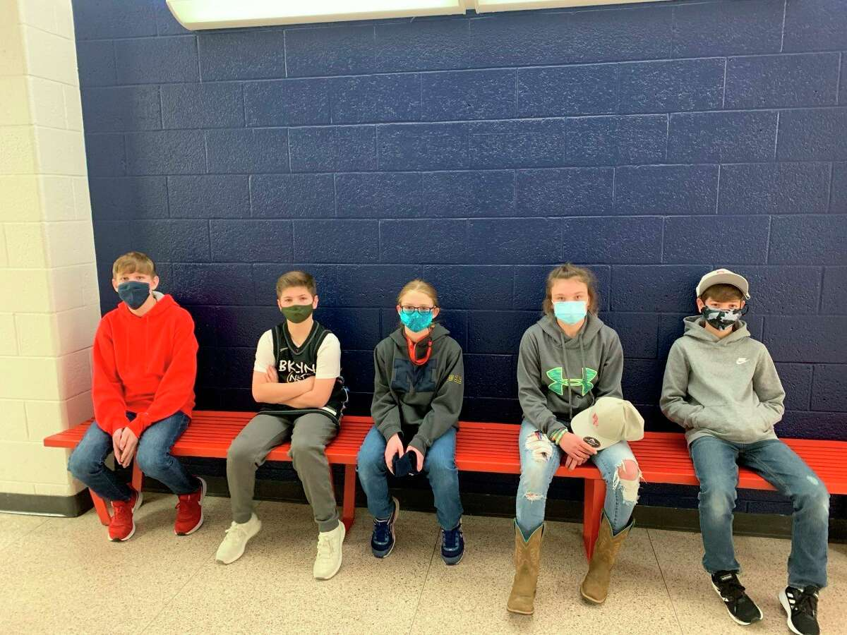 Big Rapids Middle School recently announced CARDS winners for the week of Jan. 11. Pictured are winning students (from left): Kyan Deam, Drew Haist, Emily VanBrocklin, Hailey Ptak and Meyson Langworthy. These students were selected for displaying compassion, attitude, responsibility, determination and success. (Courtesy photo)