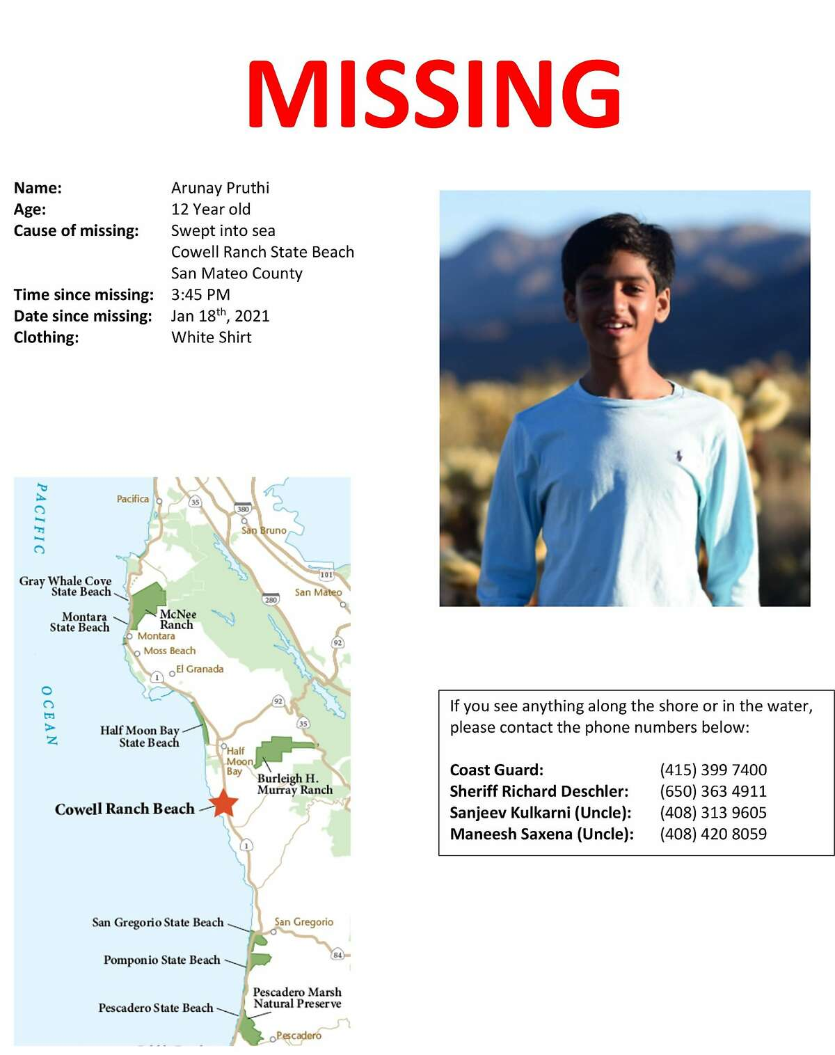 Poster for Arunay Pruthi, who went missing on January 18