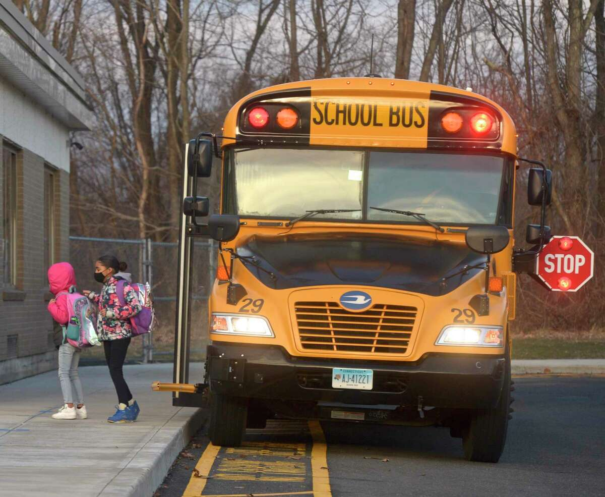 Danbury students returned to Stadley Rough Elementary for in person learning the first time since March of last year. Tuesday, January 19, 2021, in Danbury, Conn.