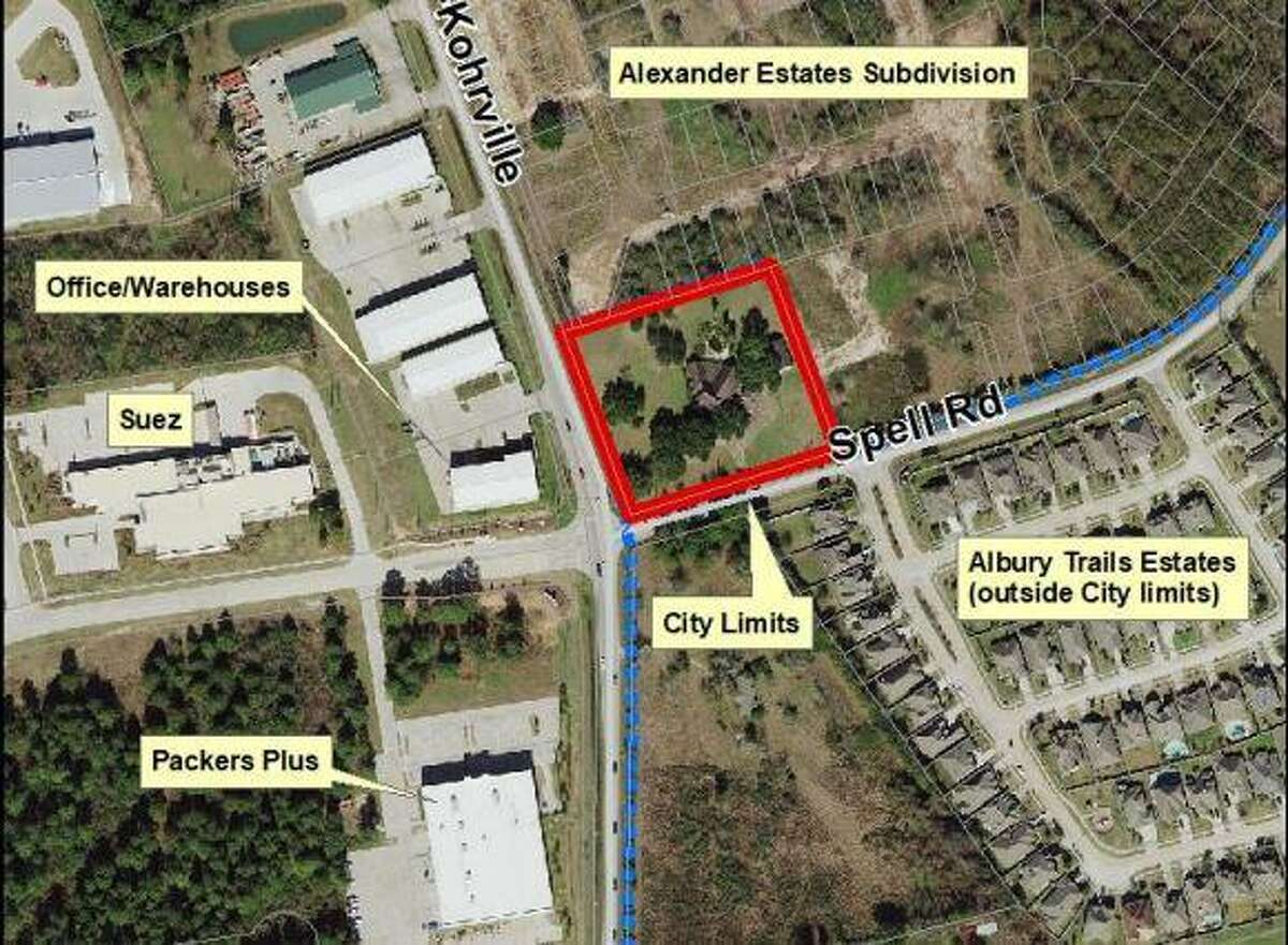 New land annexed to Tomball, where additional retail space is planned to be built at the northeast corner of Hufsmith-Kohrville Road and Spell Road.