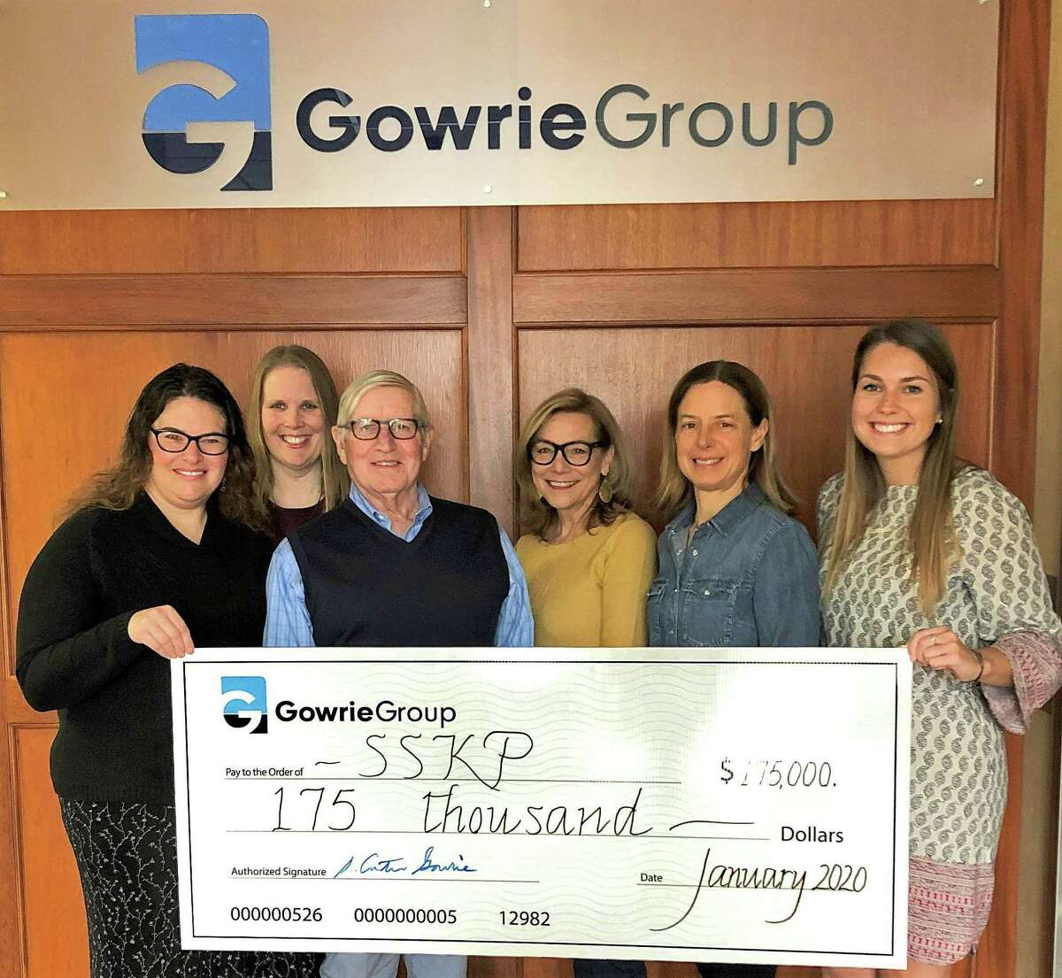 Gowrie Group's annual challenge last year raised $175,000 to benefit The Shoreline Soup Kitchens & Pantries. From left are Carol-Ann Myers of BrandTech, Amy Hollis of the soup kitchens, Gowrie Group founder Carter Gowrie, Linda Dillon, volunteer and Gowrie retiree, Whitney Peterson, Gowrie director of marketing; and Laura MacLeod, marketing coordinator.