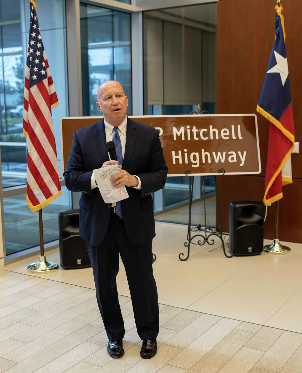 Congressman Kevin Brady speaks at the George P. Mitchell memorial highway sign revealing at Texas Rep. Steve Toth's offices in the Woodlands, Friday, Jan. 17, 2020. The founder and spiritual icon of The Woodlands - George P. Mitchell - will be one of scores of historical figures honored in the new National Garden of American Heroes created by President Donald J. Trump