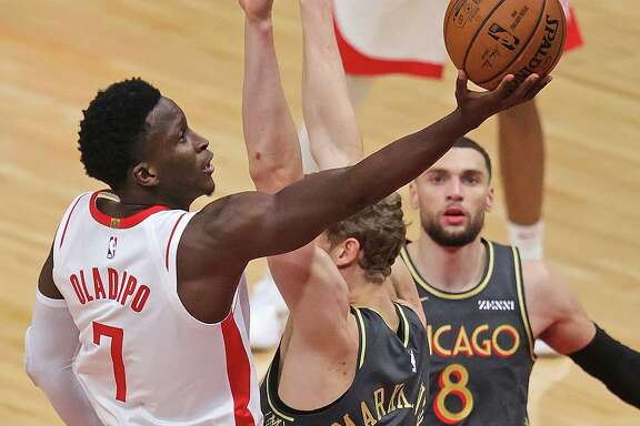 Victor Oladipo's 32 points Monday night were the most in a Rockets debut since James Harden netted 37 in his first game with the team in 2012.
