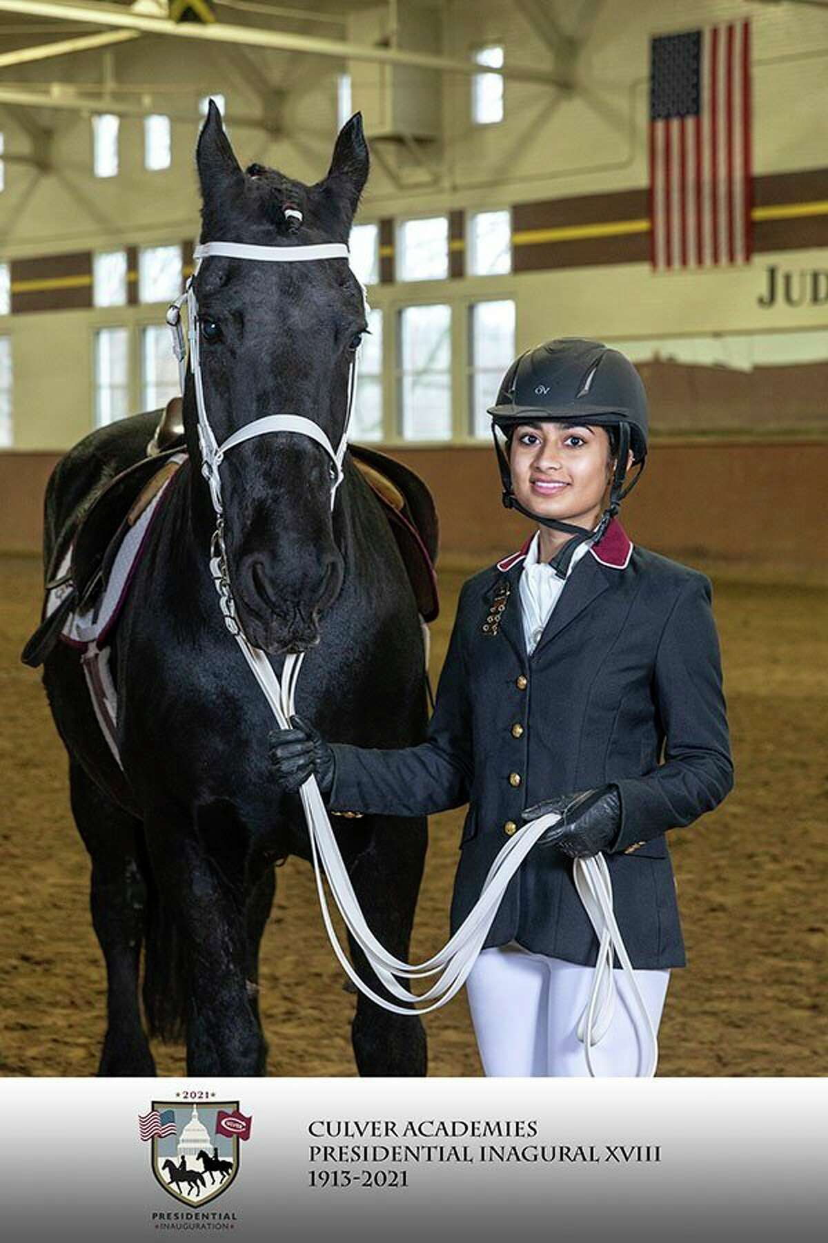 Senior Pranjal Singh, of Midland, will be riding with the Culver Academies' Black Horse Troop and Equestriennes in the Presidential Inaugural Parade Wednesday, for President-elect Joe Biden and Vice President-elect Kamala Harris. (Photo provided/Culver Academies)
