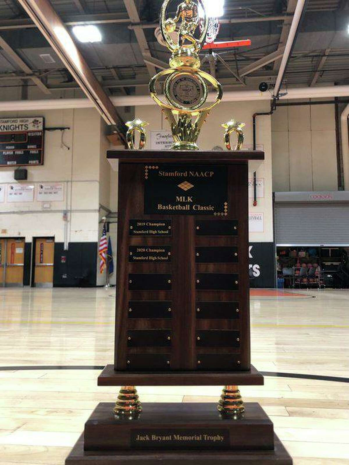 The trophies for the Stamford NAACP/MLK Basketball Classic played between Westhill and Stamford boys and girls basketball every season. The trophy has been named the Jack Bryant Memorial Trophy after the late Stamford NAACP President and city Board of Education member.