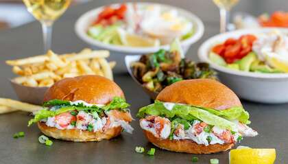 Crab sandwiches featuring local Dungeness from Bay Area burger chain Gott's Roadside.
