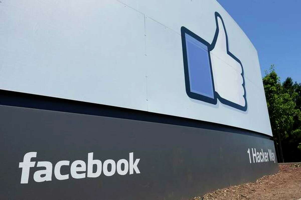 A sign at Facebook headquarters in Menlo Park, California. About 1.6 million Illinoisans with a Facebook page who joined a class-action lawsuit could get about $350 in the coming months as part of a settlement.