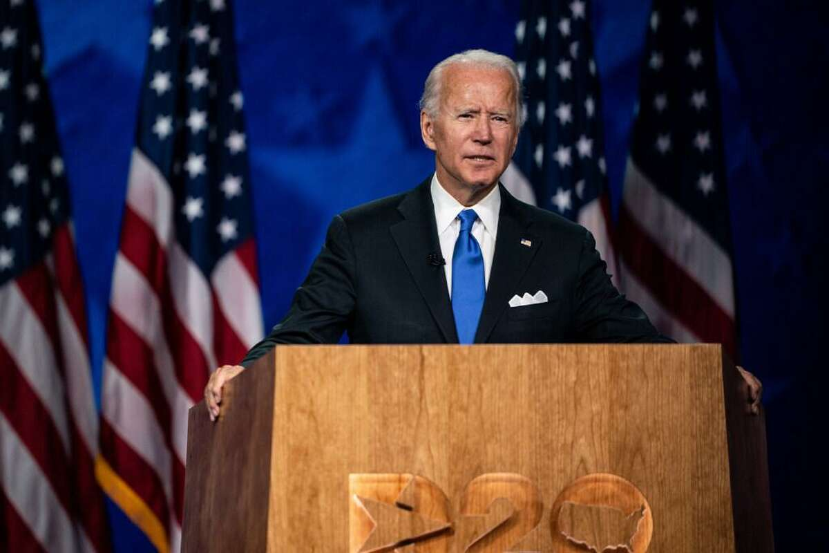 Former Vice President Joe Biden accepts the Democratic nomination for president in Wilmington, Del., Aug. 20, 2020. Biden has been an intermittent consumer of the arts, but cultural leaders credit him as a key source of government financial support.