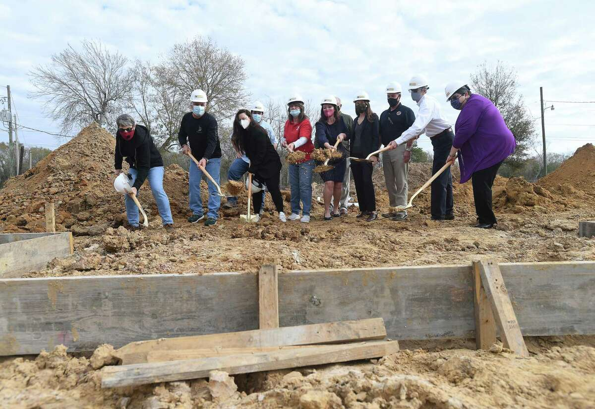 Humane Society of Southeast Texas board members and others gathered for a groundbreaking ceremony on site of their new shelter, where construction began mid-December. The new facility is projected to be completed this November. Photo taken Tuesday, January 19, 2021 Kim Brent/The Enterprise