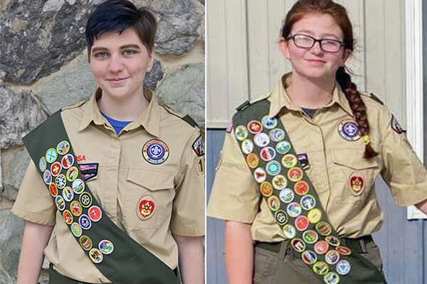"Alexandra ""Kat"" Swaner (left) and Mya Powell are among the first girls from west-central Illinois to meet the requirements for Eagle Scout."