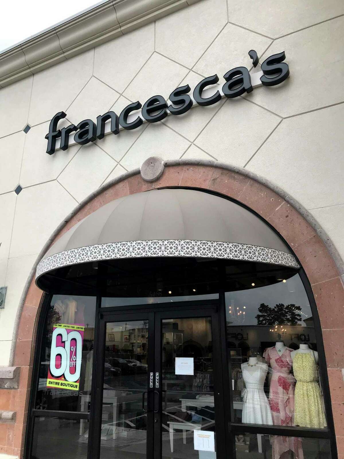 Francesca's, 5468 W FM 1960, is shown closed amid the Covid-19 pandemic Tuesday, May 5, 2020, in Houston.
