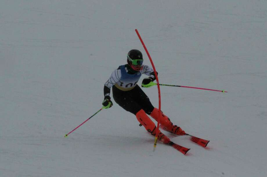 Kylar Thomas skis his way to a second place finish in the slalom on Jan. 19. (Robert Myers/News Advocate)