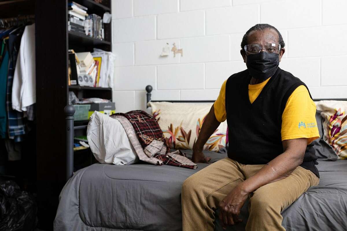 Veteran Sam Bibbens in his apartment at the Veterans Academy in San Francisco.