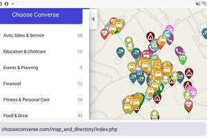 A click on the www.chooseconverse.con link brings up a Converse city map detailing all of its 348 businesses, including photos and descriptions and a Goggle Maps link to find the businesses.