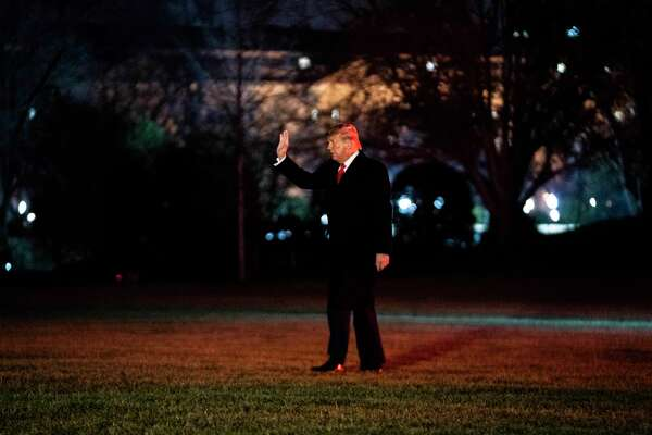 President Donald Trump, in his most recent public appearance, returns to the White House from Texas on Jan. 12, 2021.