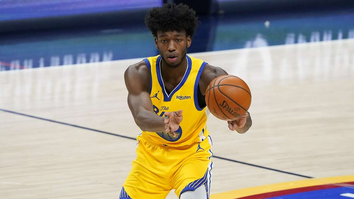 Golden State Warriors center James Wiseman (33) in the second half of an NBA basketball game late Thursday, Jan. 14, 2021, in Denver. The Nuggets won 114-104. (AP Photo/David Zalubowski)
