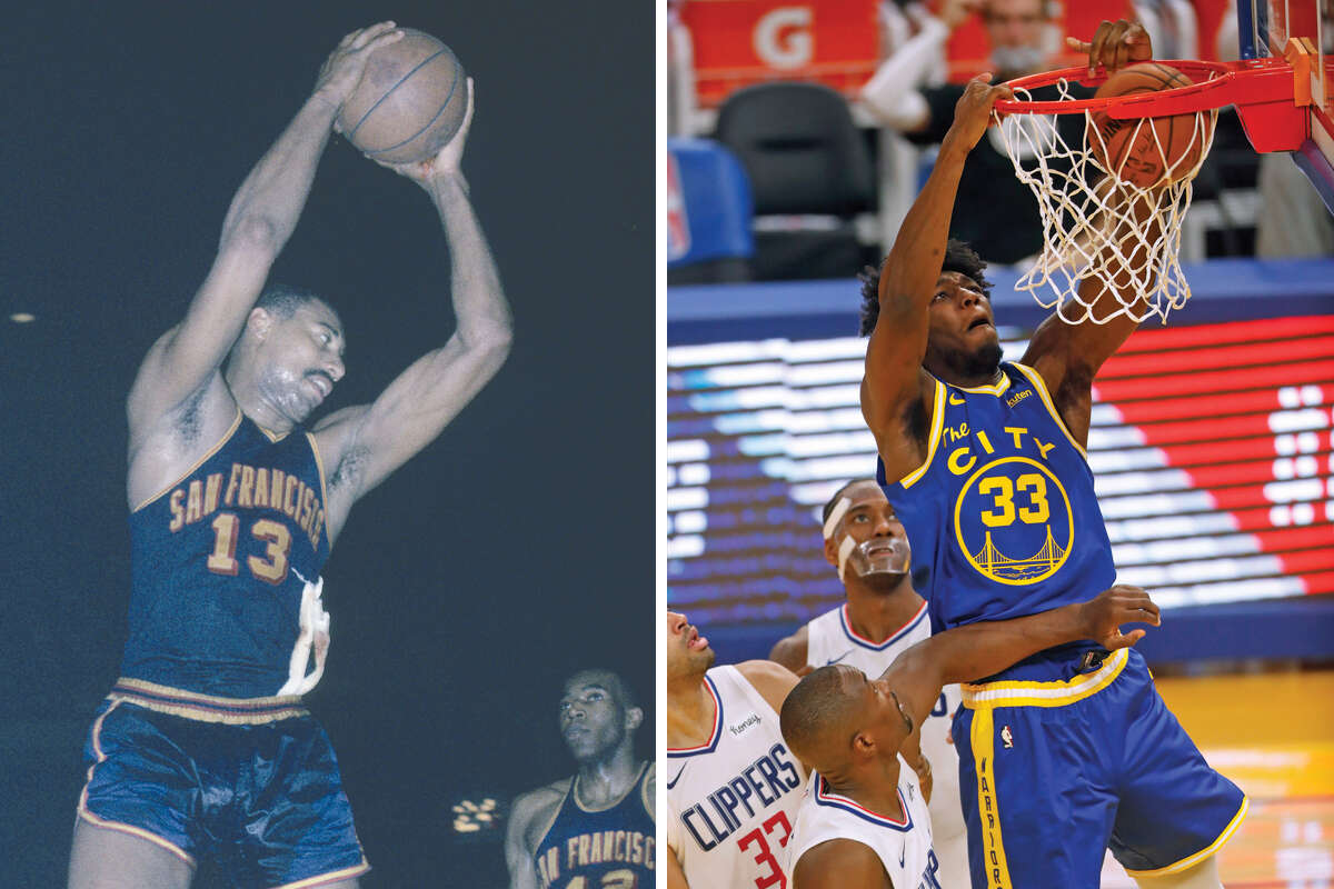 James Wiseman, right, may never catch Wilt Chamberlain in scoring, but the Warriors rookie should rise up quickly through the ranks of all-time Warriors centers.