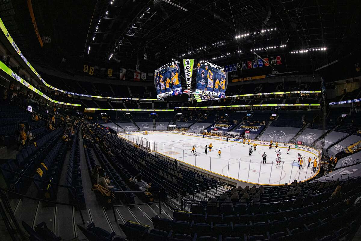 NASHVILLE, TN - JANUARY 14: General view during the third period of an NHL game between the Nashville Predators and the Columbus Blue Jackets at Bridgestone Arena on January 14, 2021 in Nashville, Tennessee. Nashville defeats Columbus 3-1. (Photo by Brett Carlsen/Getty Images)