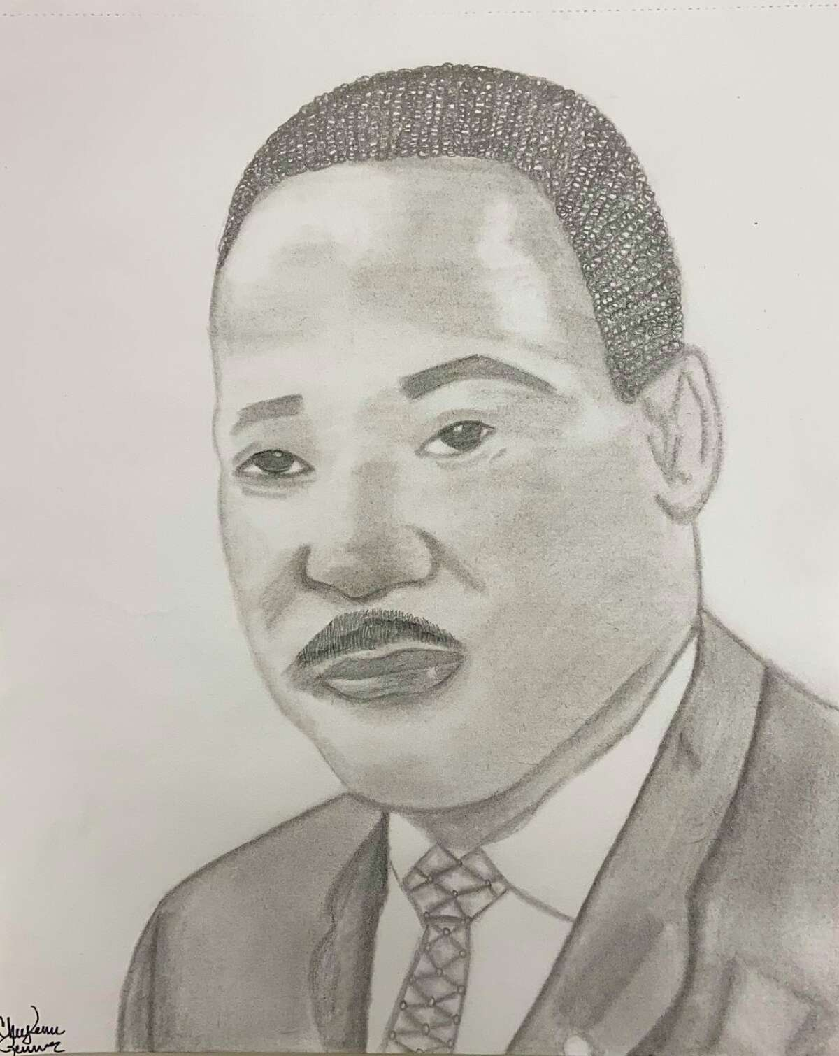 Pictured is a drawing of Dr. Martin Luther King Jr. by Manistee High School senior Cheyenne Renner.It was drawn from a photograph observation. (Courtesy photo)