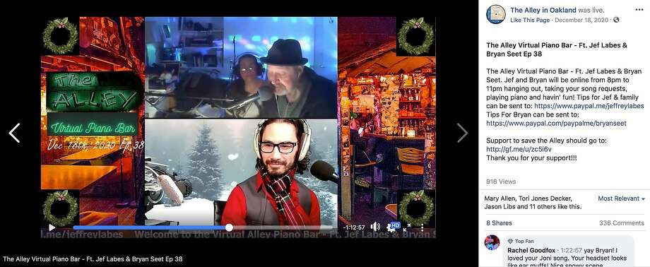 A screenshot from Episode 38 of the Alley's Virtual Piano Bar, an archived Facebook Live stream featuring pianists Jef Labes, above, and Bryan Seet that has replaced the Alley's Saturday night singalongs during the pandemic. Photo: The Alley In Oakland Facebook Page
