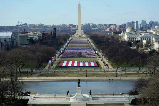 A view of the National Mall in Washington, Tuesday, Jan. 19, 2021, ahead of the 59th Presidential Inauguration on Wednesday.