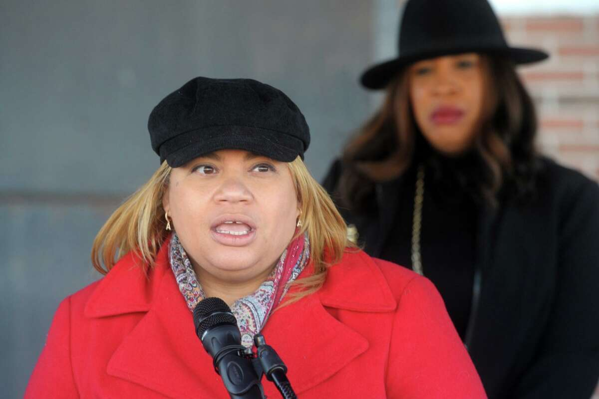 City Council President Aidee Nieves speaks at a news conference outside the Bridgeport Health Department's Communicable Disease Clinic in Bridgeport, Conn. Jan. 9, 2021.