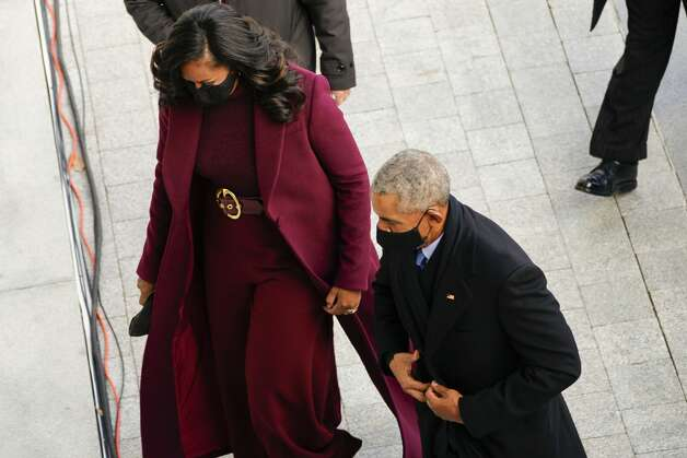 Former US President Barack Obama, and former First lady Michele Obama arrive for the inauguration of Joe Biden as the 46th US President on January 20, 2021, at the US Capitol in Washington, DC. (Photo by Melina Mara / POOL / AFP) (Photo by MELINA MARA/POOL/AFP via Getty Images) Photo: MELINA MARA/POOL/AFP Via Getty Images