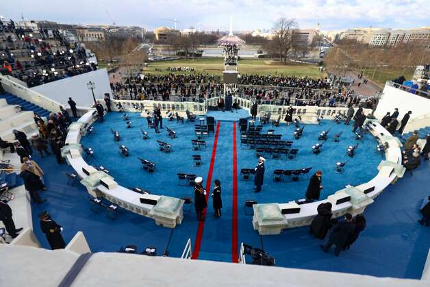 WASHINGTON, DC - JANUARY 20: A general view as attendees arrive to the inauguration of U.S. President-elect Joe Biden on the West Front of the U.S. Capitol on January 20, 2021 in Washington, DC. During today's inauguration ceremony Joe Biden becomes the 46th president of the United States. (Photo by Tasos Katopodis/Getty Images) Photo: Tasos Katopodis/Getty Images / 2021 Getty Images