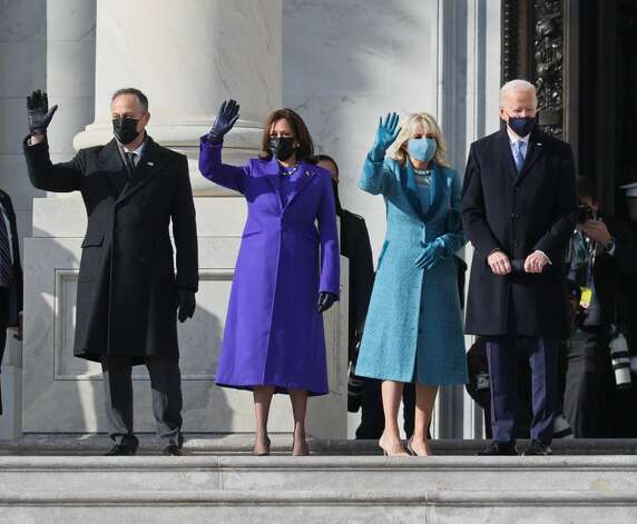 WASHINGTON, DC - JANUARY 20: (EDITOR'S NOTE: Alternate crop) (L-R) Doug Emhoff, U.S. Vice President-elect Kamala Harris, Jill Biden and President-elect Joe Biden wave as they arrive on the East Front of the U.S. Capitol for the inauguration on January 20, 2021 in Washington, DC. During today's inauguration ceremony Joe Biden becomes the 46th president of the United States. (Photo by Joe Raedle/Getty Images) Photo: Joe Raedle/Getty Images / 2021 Getty Images