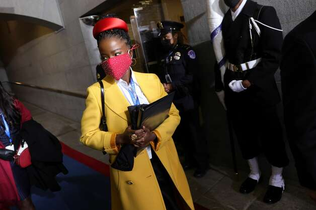 WASHINGTON, DC - JANUARY 20: National youth poet laureate Amanda Gorman arrives at the inauguration of U.S. President-elect Joe Biden on the West Front of the U.S. Capitol on January 20, 2021 in Washington, DC. During today's inauguration ceremony Joe Biden becomes the 46th president of the United States. (Photo by Win McNamee/Getty Images) Photo: Win McNamee/Getty Images / 2021 Getty Images