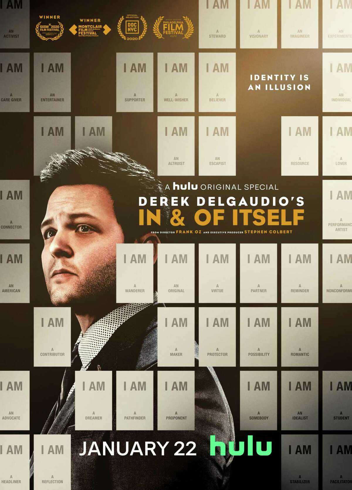"""The poster for the Hulu movie """"In & of Itself,"""" starring Derek DelGaudio and directed by Frank Oz."""