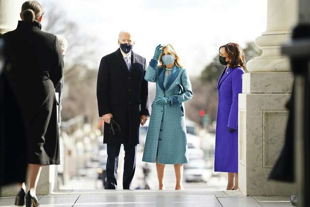 President-elect Joe Biden and his wife Jill Biden arrive at the East Front of the U.S. Capitol ahead of Biden's inauguration, Wednesday, Jan. 20, 2021, at the U.S. Capitol in Washington. Photo: Jim Lo Scalzo, Associated Press