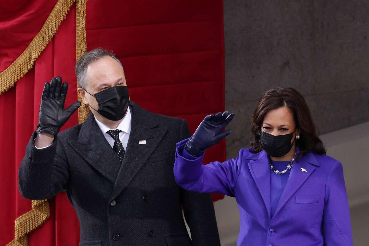 U.S. Vice President-elect Kamala Harris and husband Doug Emhoff arrive to the inauguration of U.S. President-elect Joe Biden on the West Front of the U.S. Capitol on January 20, 2021 in Washington, DC.