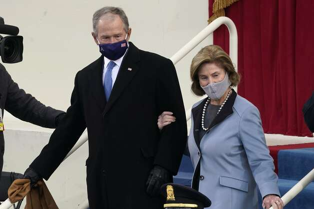 Former President George W. Bush and his wife Laura arrive for the 59th Presidential Inauguration at the U.S. Capitol for President-elect Joe Biden in Washington, Wednesday, Jan. 20, 2021. (AP Photo/Andrew Harnik) Photo: Andrew Harnik, Associated Press
