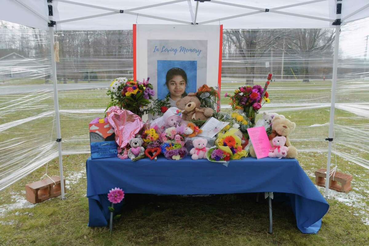 A view of a memorial set up for Jasleen Kaur and her family outside the Maple Hill Junior/Senior High Schol, on Wednesday, Jan. 20, 2021, in Schodack, N.Y. (Paul Buckowski/Times Union)