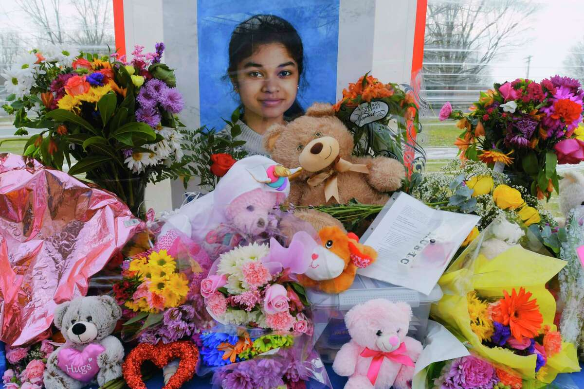 A view of a memorial set up for Jasleen Kaur and her family outside the Maple Hill Junior/Senior High School, on Wednesday, Jan. 20, 2021, in Schodack, N.Y. (Paul Buckowski/Times Union)