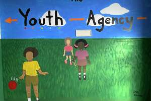 A mural drawn by Olivia Arasim at the New Milford Youth Agency