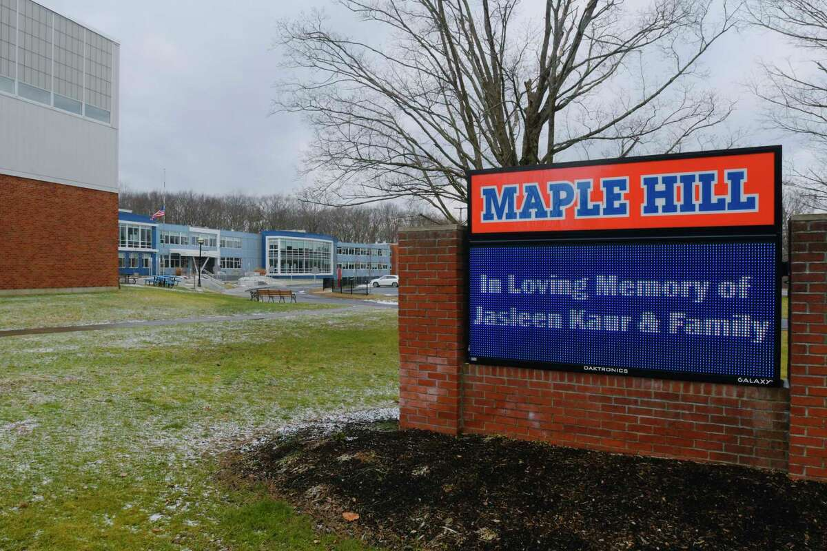A view of Maple Hill Junior/Senior High School, on Wednesday, Jan. 20, 2021, in Schodack, N.Y. The school district has set up an area outside the school as a memorial to Jasleen Kaur and her family. (Paul Buckowski/Times Union)