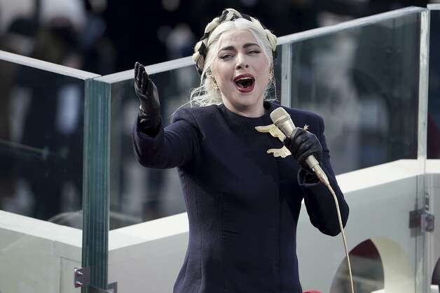 Lady Gaga sings the national anthem before President-elect Joe Biden's inauguration, Wednesday, Jan. 20, 2021, at the U.S. Capitol in Washington. Photo: Greg Nash, Associated Press