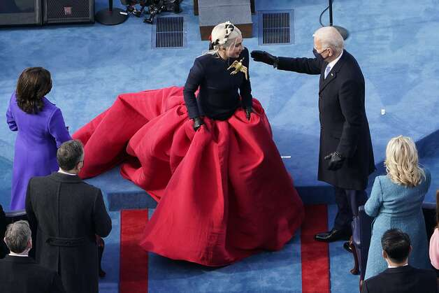 President-elect Joe Biden greets Lady Gaga during the 59th Presidential Inauguration at the U.S. Capitol in Washington, Wednesday, Jan. 20, 2021. Photo: Susan Walsh, Associated Press