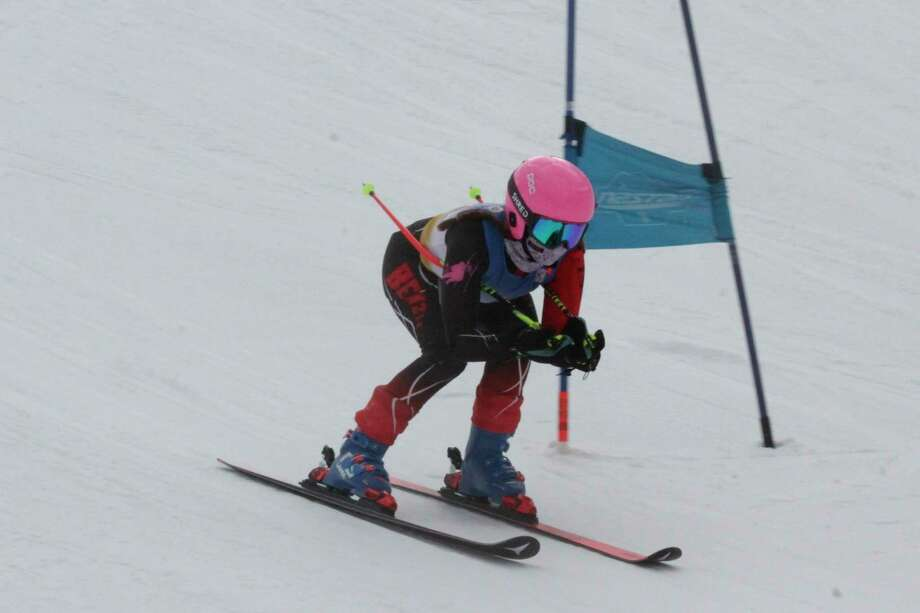 Anna Wolfe completes her second giant slalom run on Jan. 19. (Robert Myers/Record Patriot)