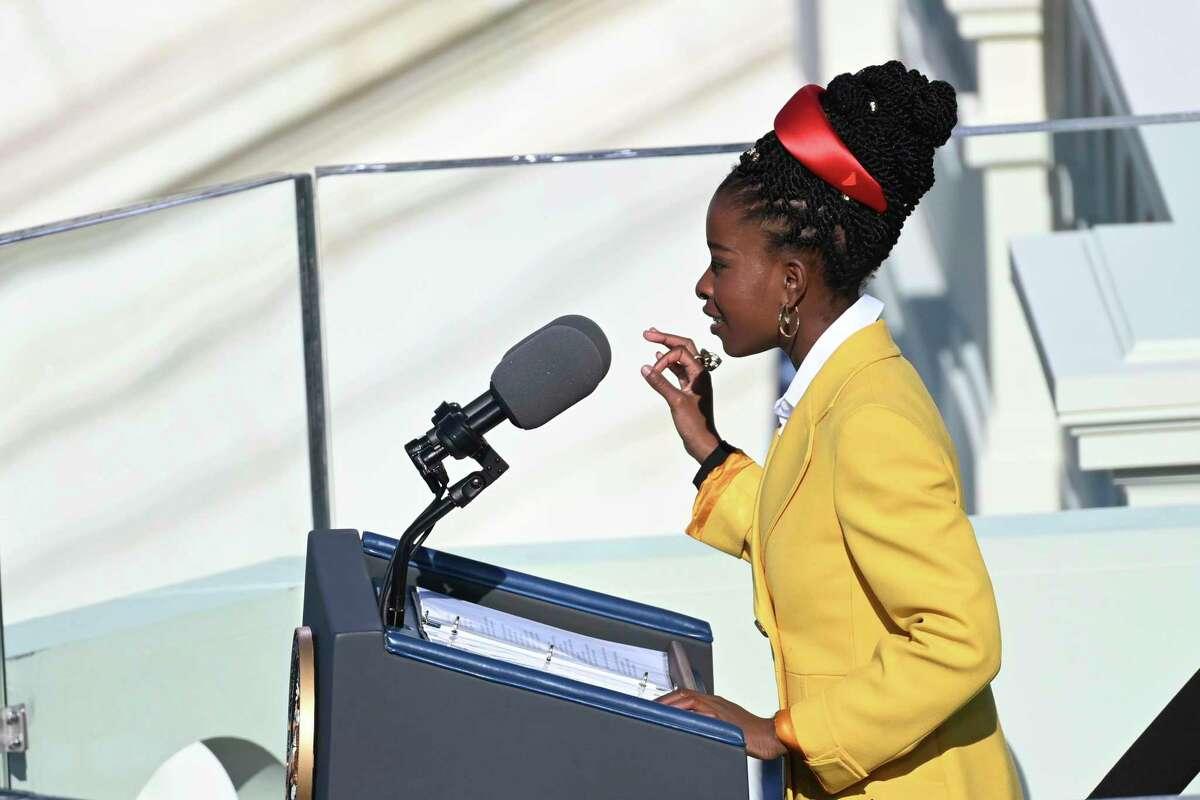 Poet Amanda Gorman recites a poem during the 59th Presidential Inauguration at the U.S. Capitol in Washington for President Joe Biden, Wednesday, Jan. 20, 2021. (Saul Loeb/Pool Photo via AP)