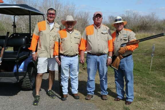 William Edmunds, Dale Kornegay, Jeff Burnett, and Jim Slack Jr. at the Alley Theatre's sporting clays shoot.