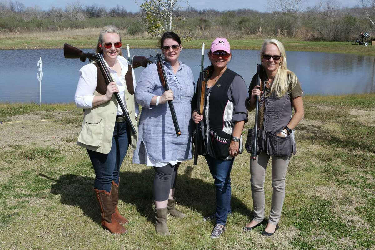Katherine Stacy, Kelly Sklar, Carmen Mach, and Melanie Rothwell at the Alley Theatre's sporting clays shoot.