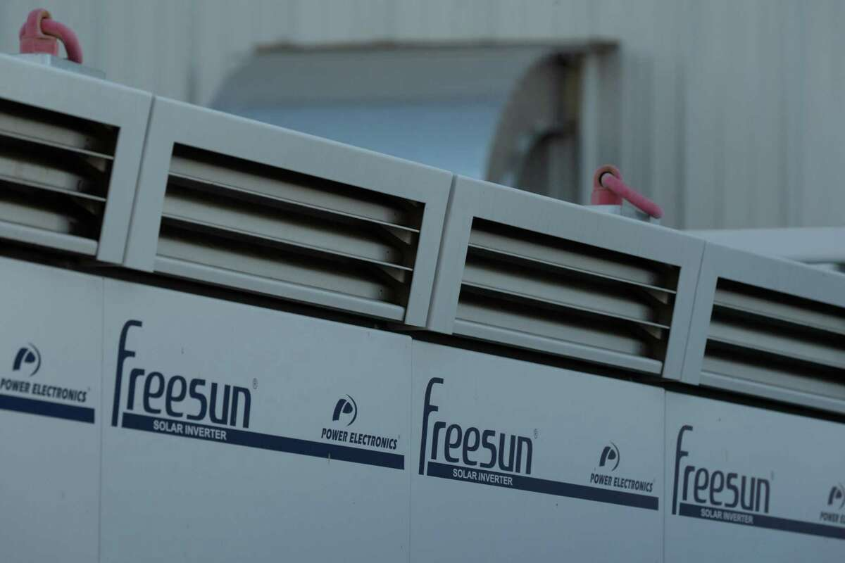 Power Electronics Espana SL Freesun solar inverters outside the LS Power Group Vista Energy Storage project in Vista, California, U.S., on Thursday, Jan. 14, 2021. The State expects to add 2,100 megawatts of battery storage this year, California agencies said in an October report.