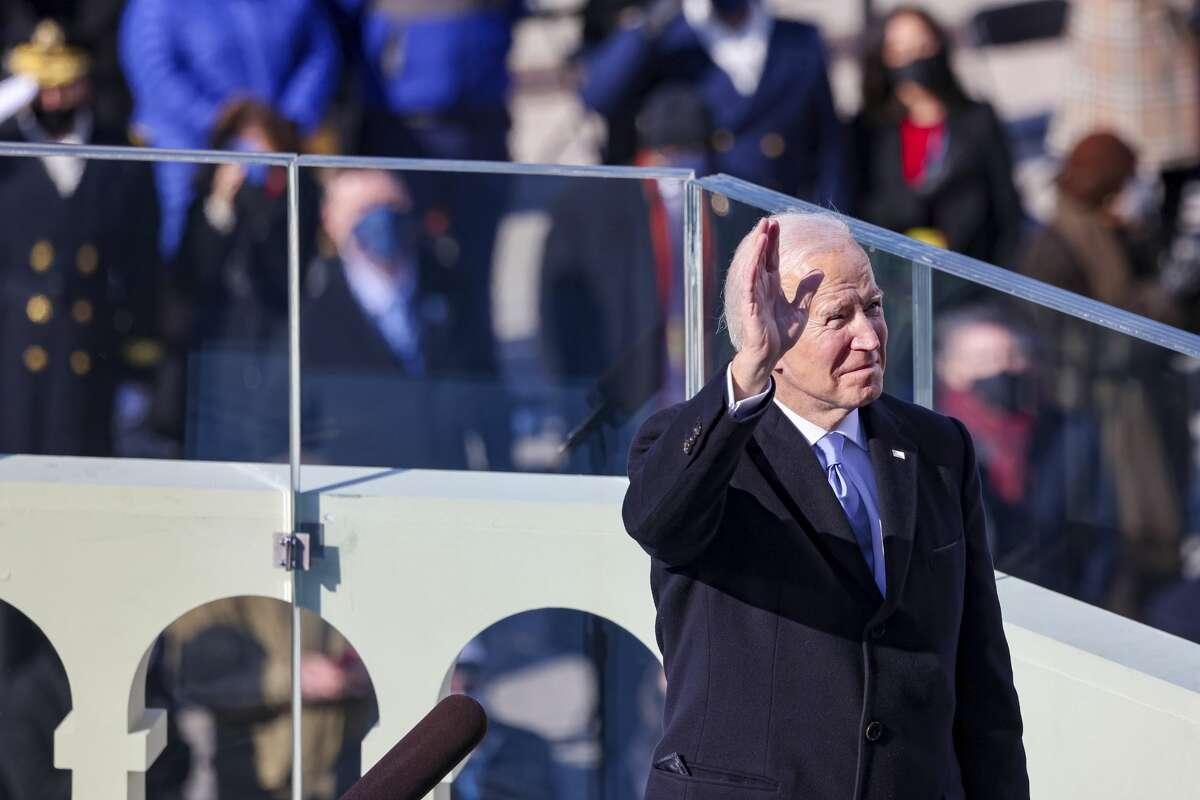 President Joe Biden reacts as he prepares to deliver his inaugural address on the West Front of the U.S. Capitol on Wednesday, Jan. 20, 2021 in Washington. (Tasos Katopodis/Pool Photo via AP)
