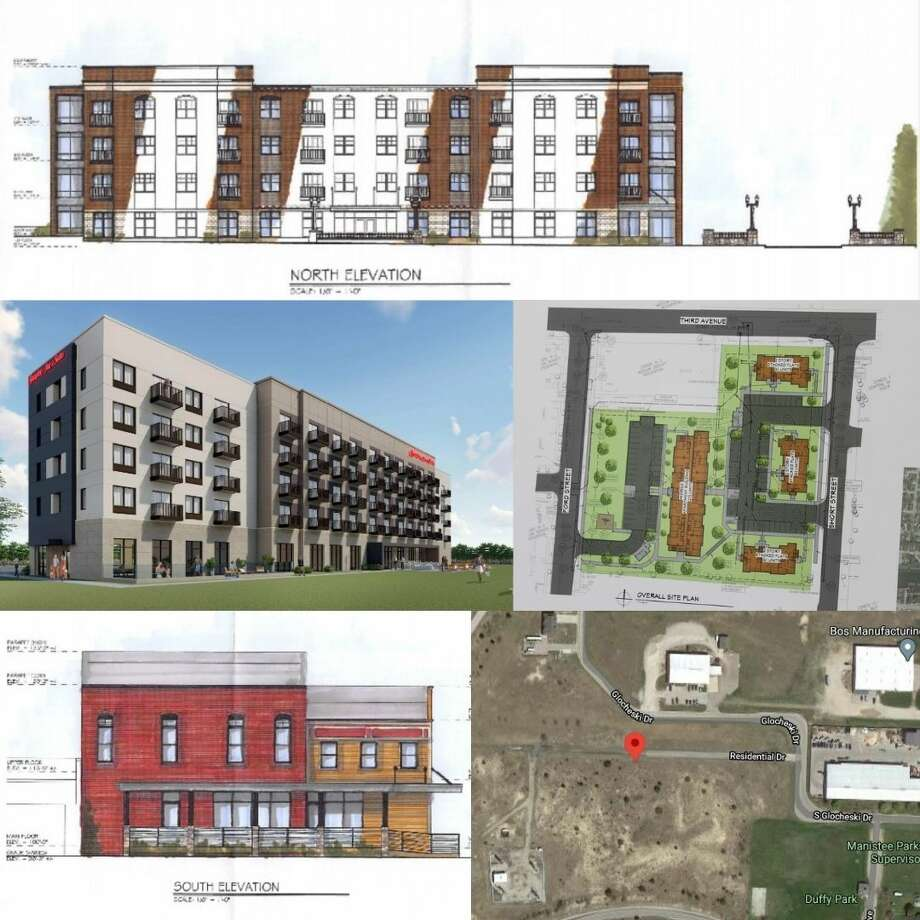 Manistee has seen action in the last few months on new projects like the River Water Housing Development (top and bottom left images), a new Hampton Inn (center left), Hillcrest Apartments (center right) and a marijuana grow facility (bottom right). Photo: Graphic/News Advocate