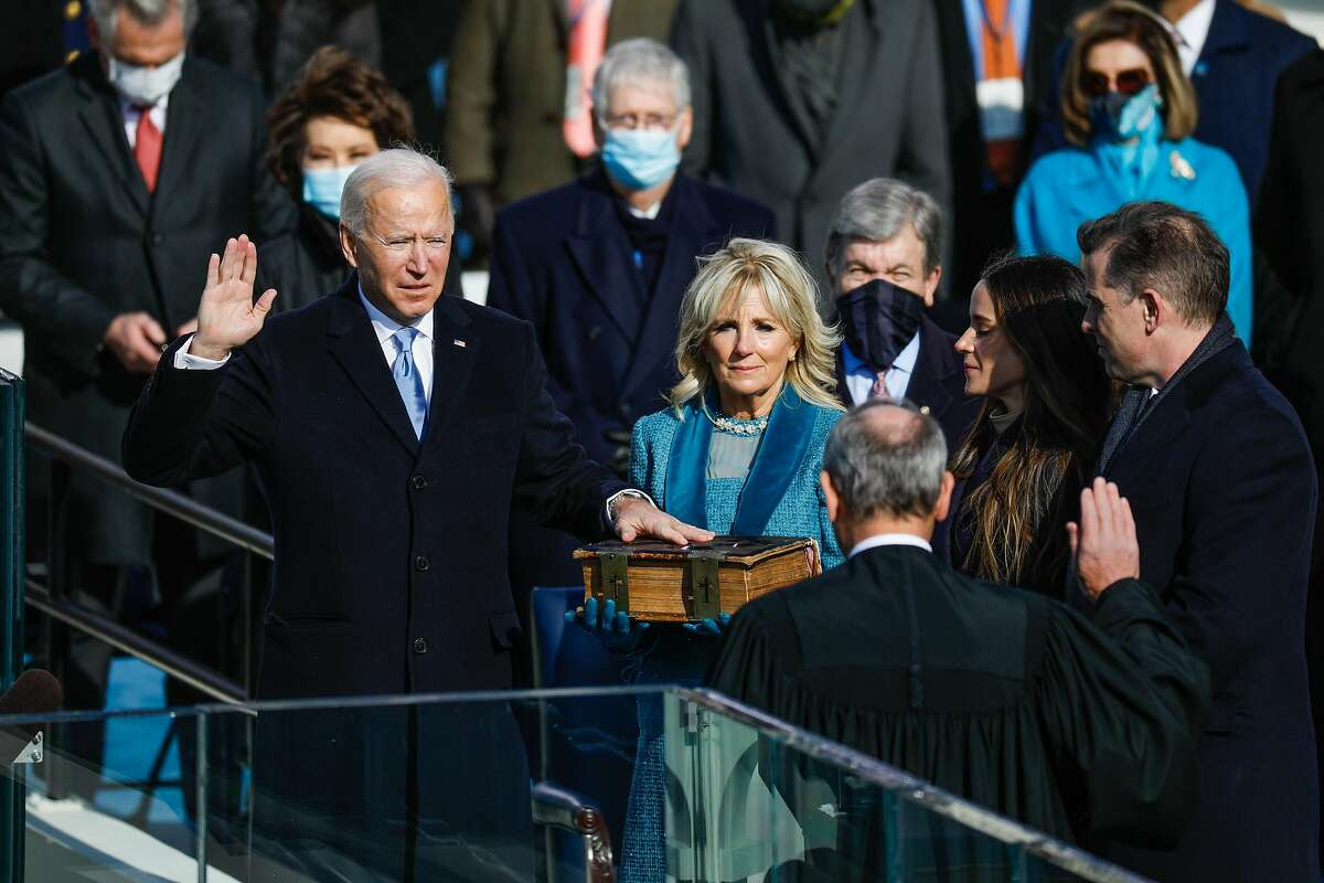 President-elect Joe Biden is sworn in as President by Chief Justice John Roberts during the Presidential Inauguration on Wednesday, Jan. 20, 2021 in Washington, D.C. During today?•s inauguration ceremony Joe Biden becomes the 46th President of the United States and Kamala Harris becomes the Vice President.